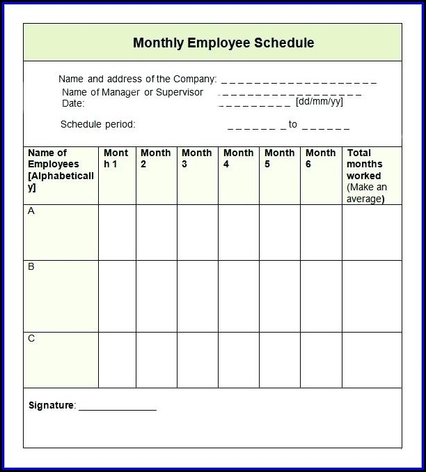 Monthly Employee Schedule Template 2017