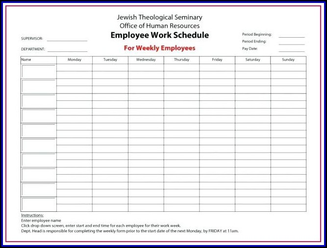 Monthly Employee Schedule Template 2018