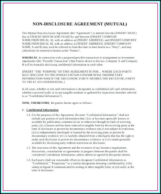 mutual non disclosure agreement template uk