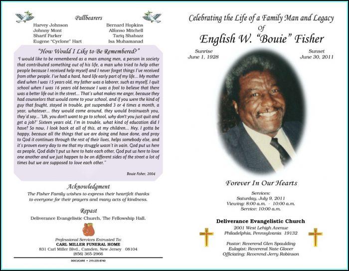 Obituary Program Layout