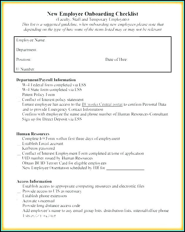 Onboarding Process Document Template