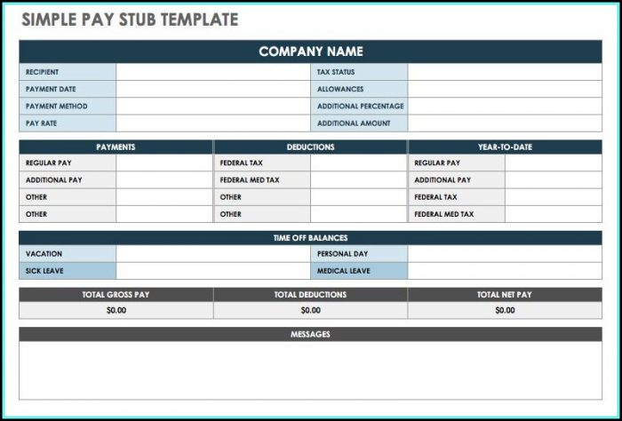 Paycheck Stub Template Free Excel