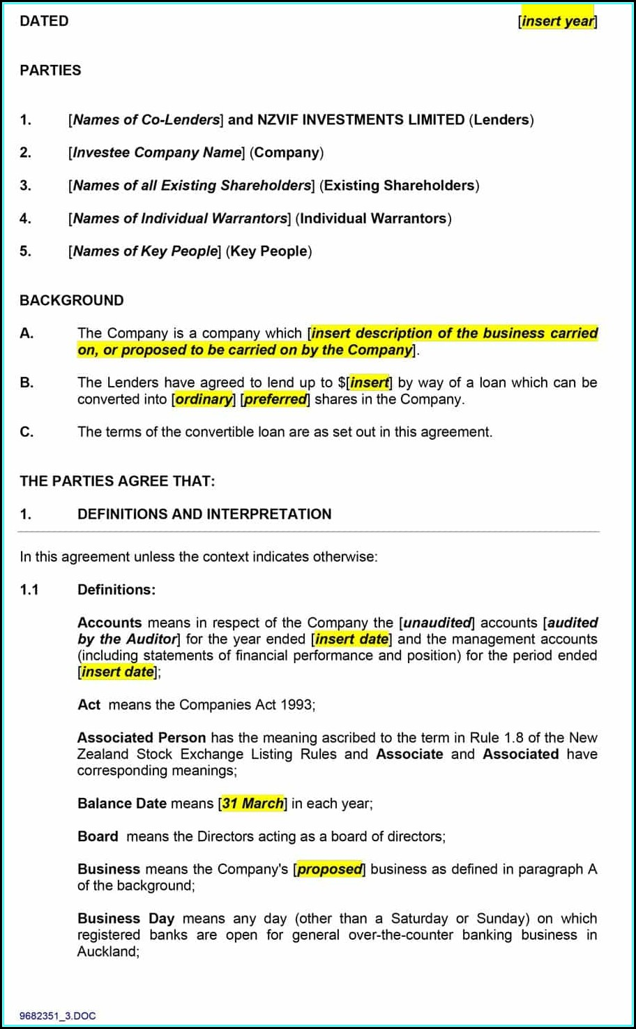 Personal Loan Contract Template Uk