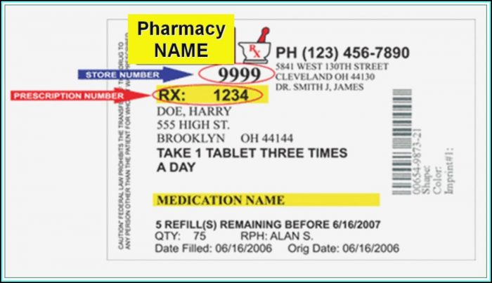 Prescription Bottle Label Template Free