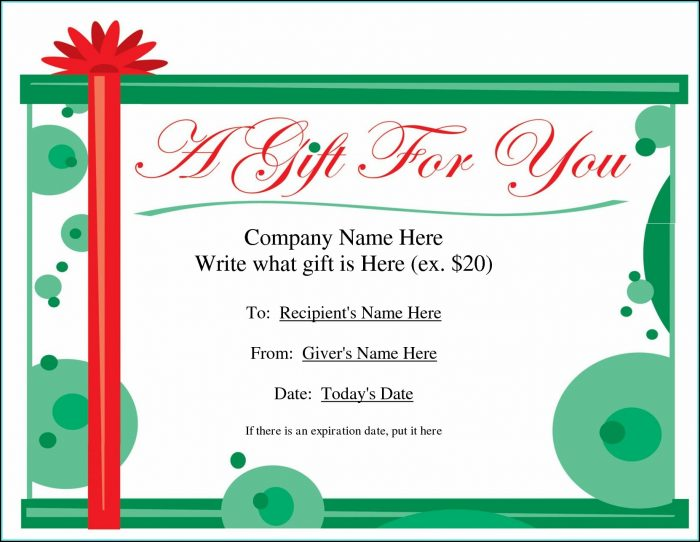 Printable Gift Certificate Templates Christmas