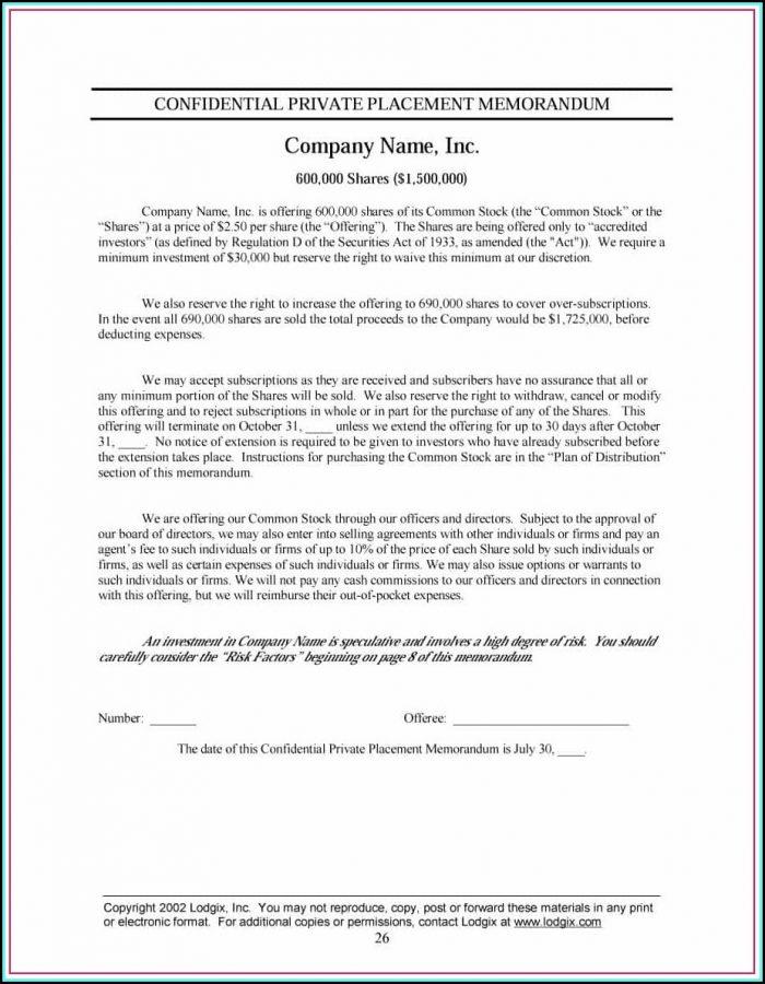 Private Placement Memorandum Form D