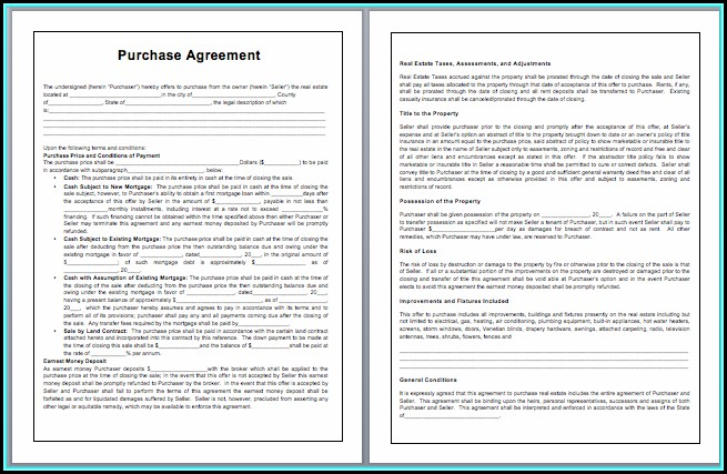 Purchase Contract Template Word