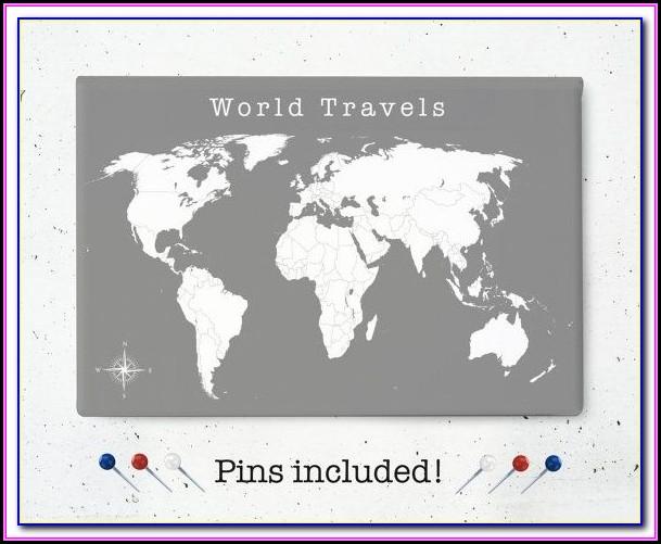 Push Pin World Map Canada