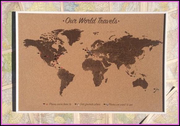Push Pin World Map On Cork Board