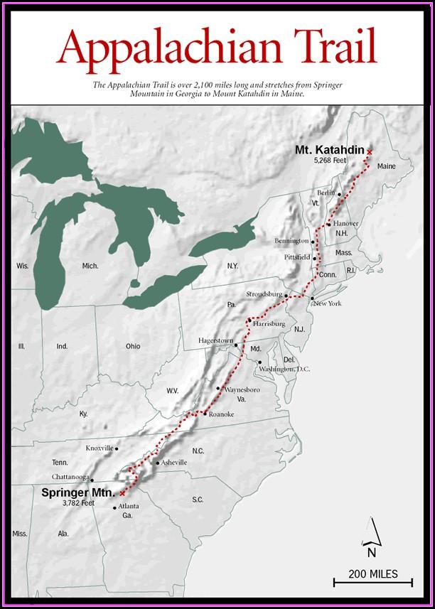 Road Map Appalachian Trail