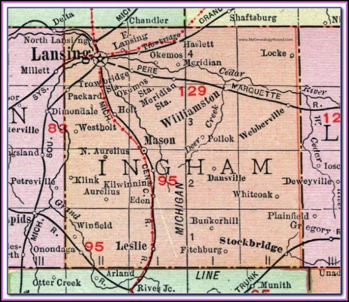 Road Map Of Ingham County Michigan