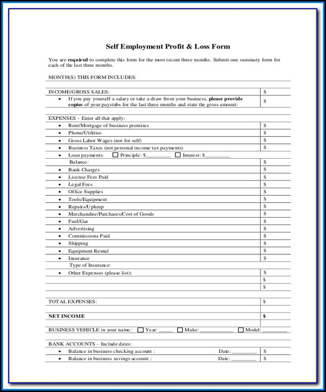 Simple Profit And Loss Form For Self Employed