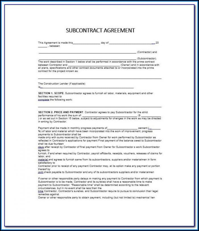 Standard Short Form Agreement Between Contractor And Subcontractor