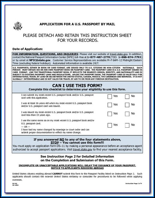 Travel State Gov Passport Forms Ds 82