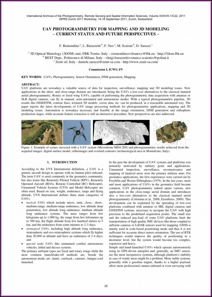 Uav Photogrammetry For Mapping And 3d Modeling