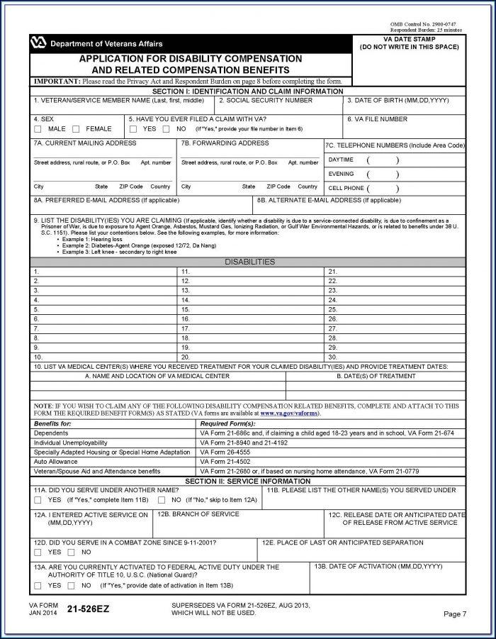 Va Fillable Form 21 526