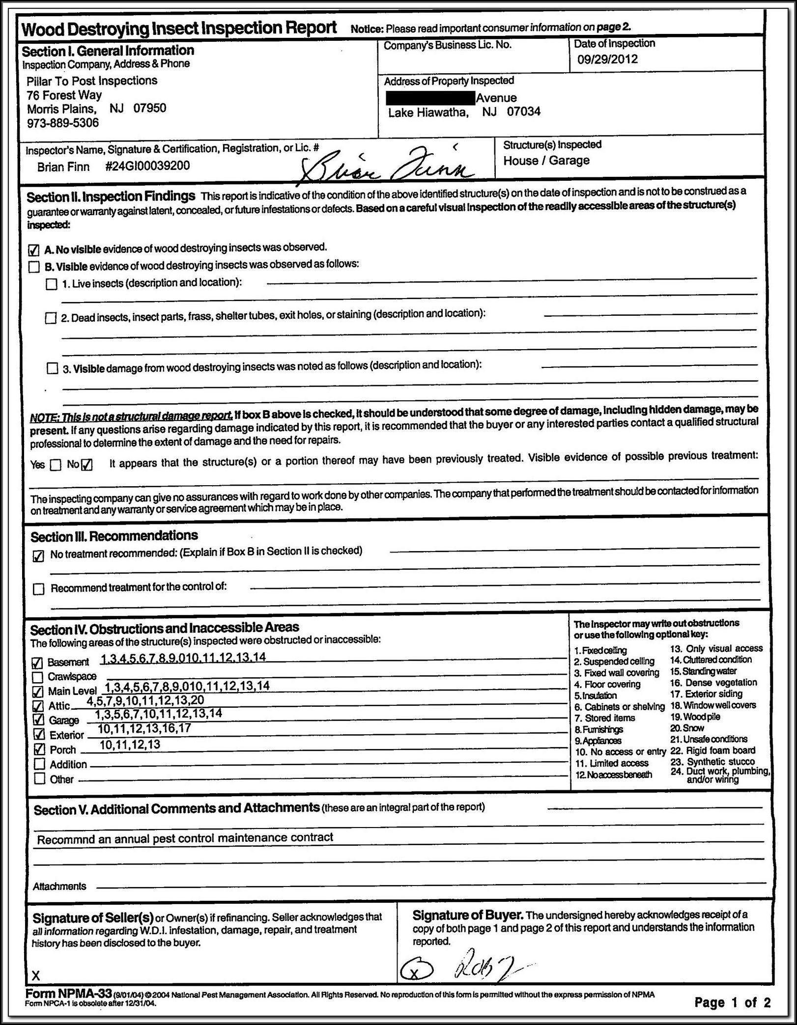 Va Loan Pest Inspection Form