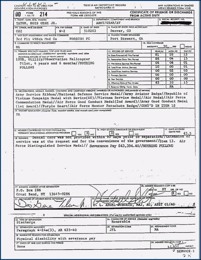 Veterans Form Dd214