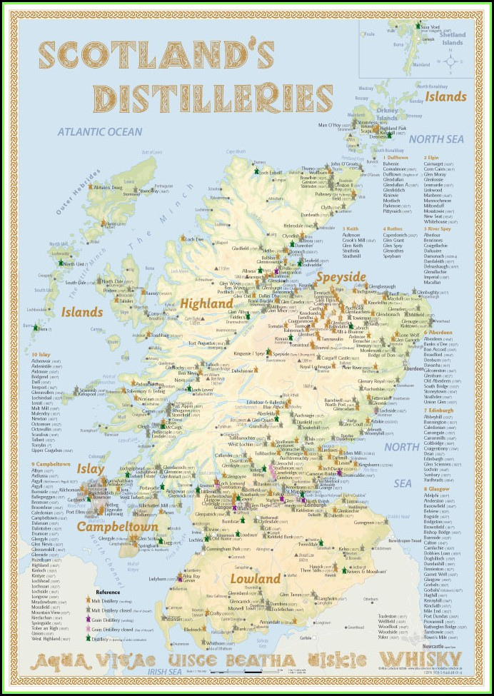 Whisky Distilleries Scotland Tasting Map