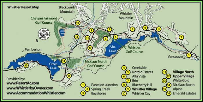 Whistler Blackcomb Accommodation Map