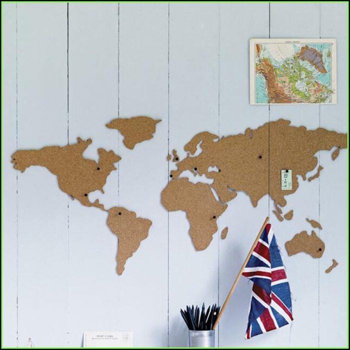 World Map Cork Board Pin Board