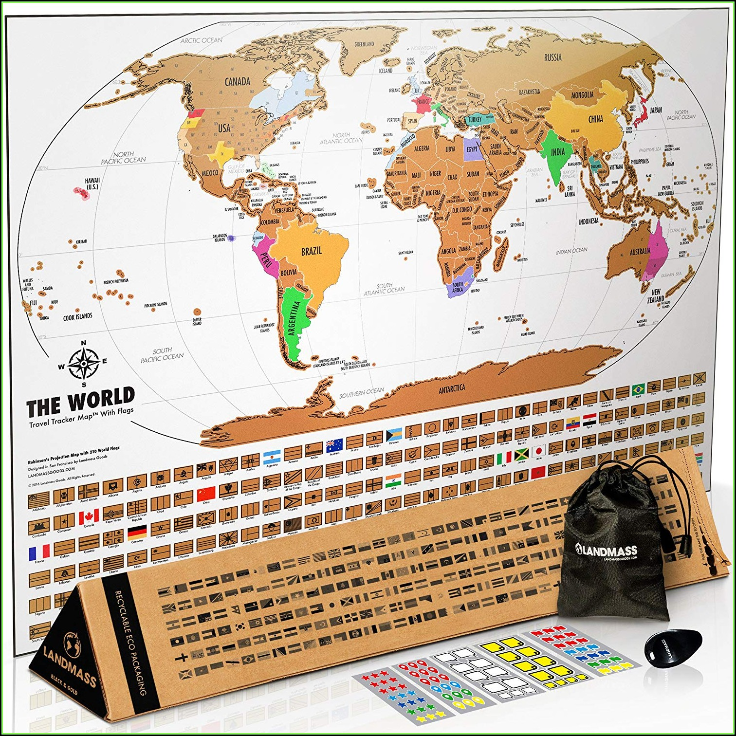 World Travel Tracker Map Scratch Off