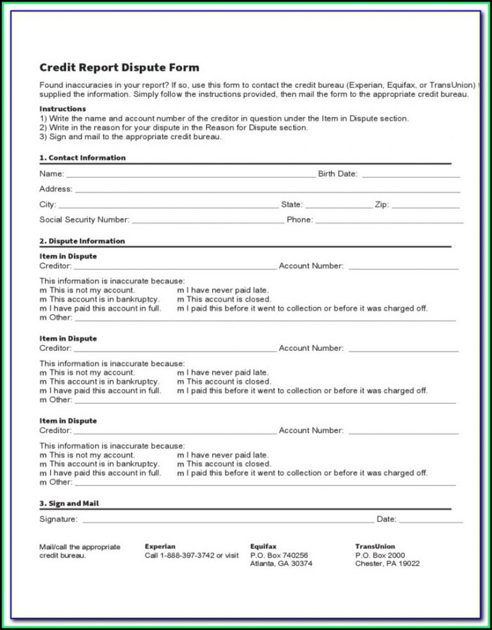Dispute Credit Report Form