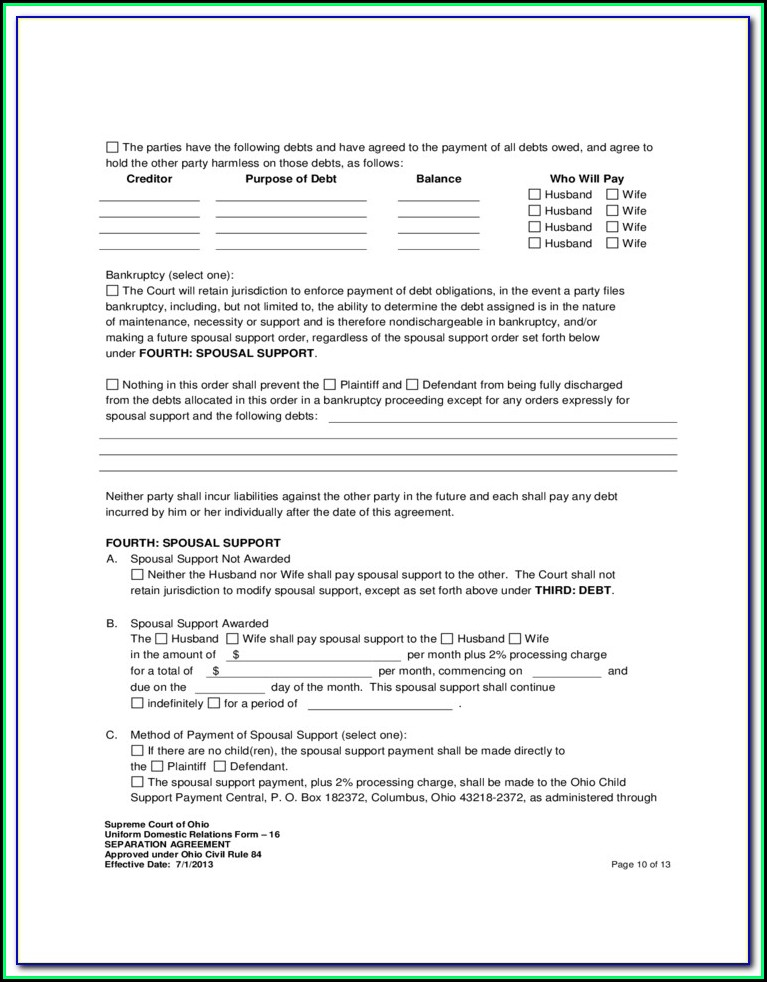 Employment Separation Agreement Form Ohio