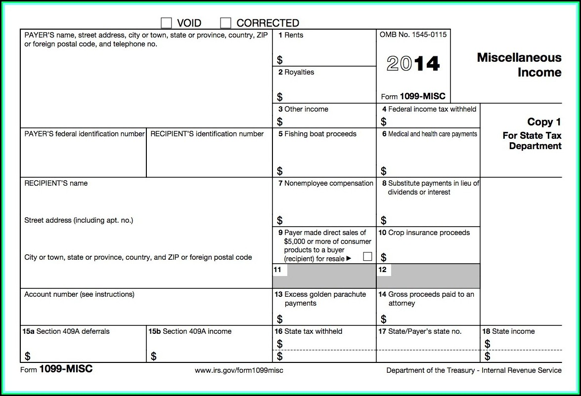 Fill In 1099 Misc Form 2014