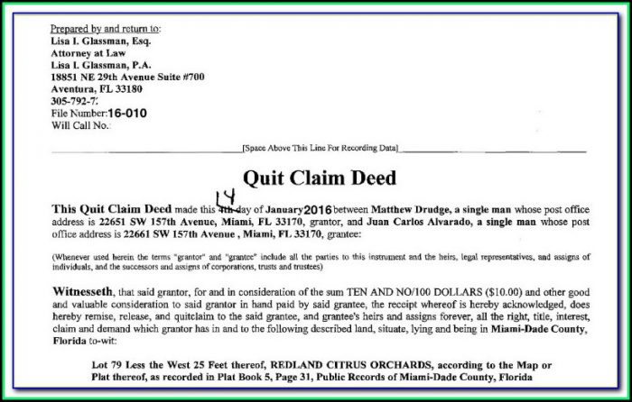 Florida Quit Claim Deed Form Lee County
