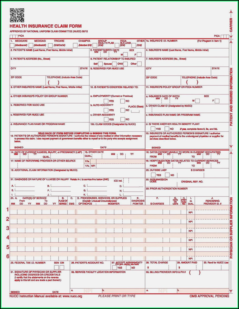 Free Blank Cms 1500 Form