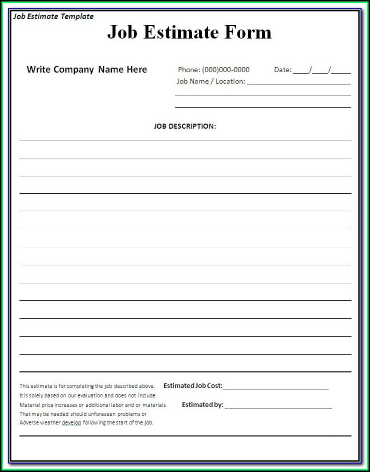Free Blank Estimate Forms Construction