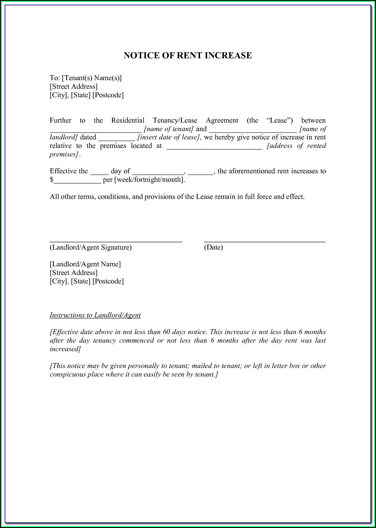Free California Rent Increase Form