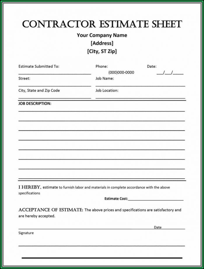 Free Construction Estimate Forms Templates