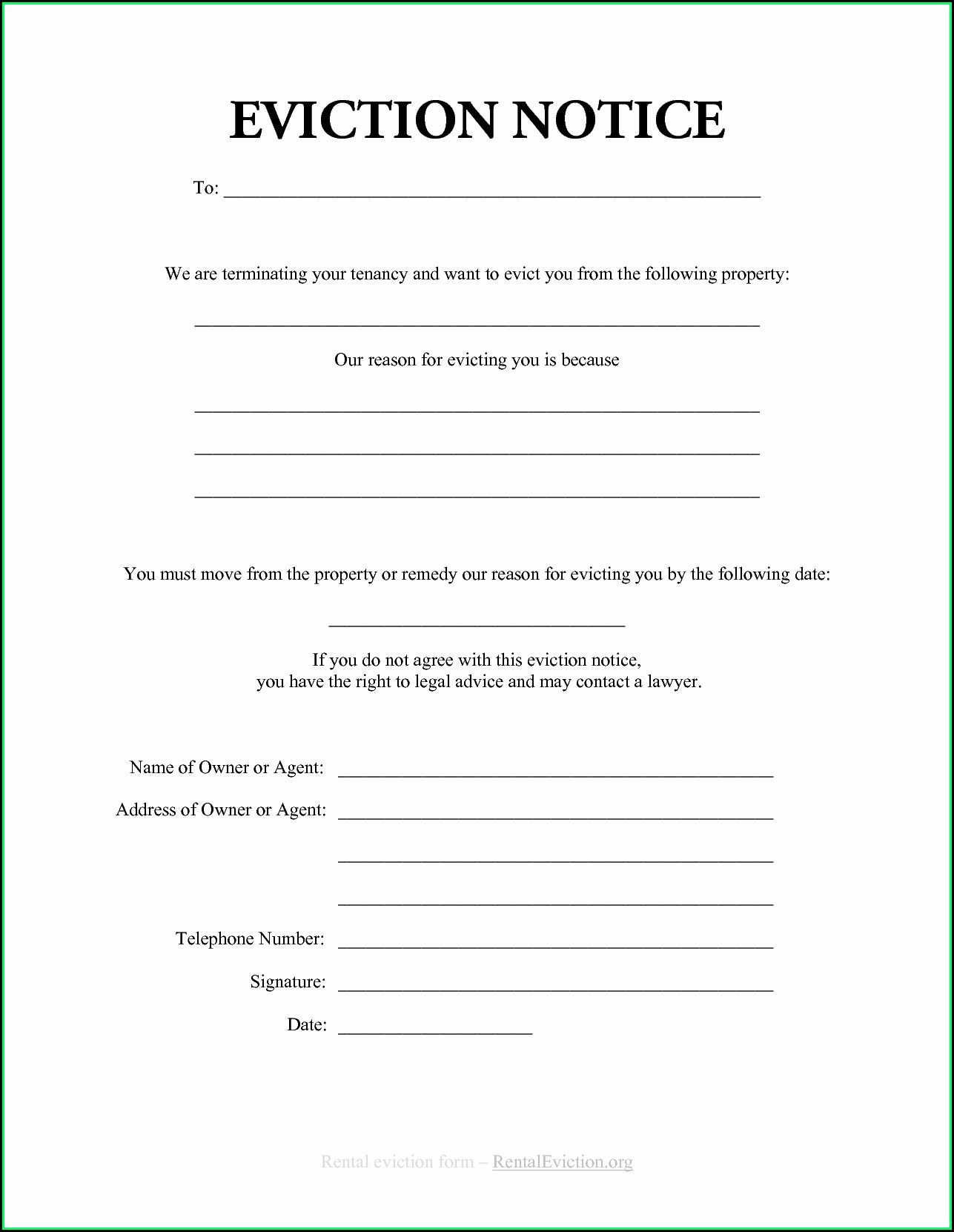 Free Printable Eviction Notice Form