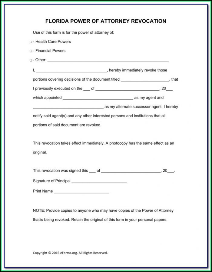 Free Printable General Power Of Attorney Form Florida