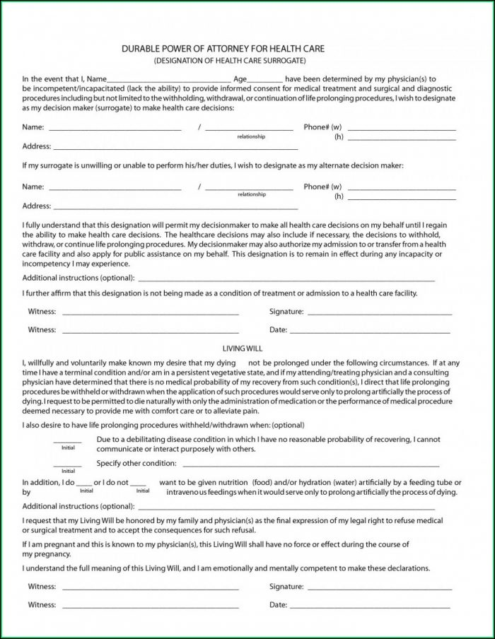 Free Printable Medical Power Of Attorney Form Virginia