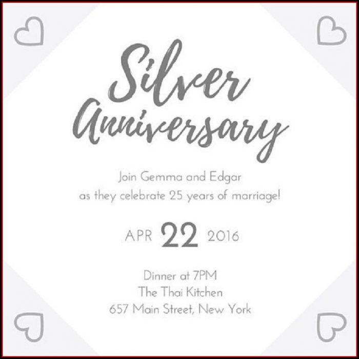 25th Anniversary Invitations Templates