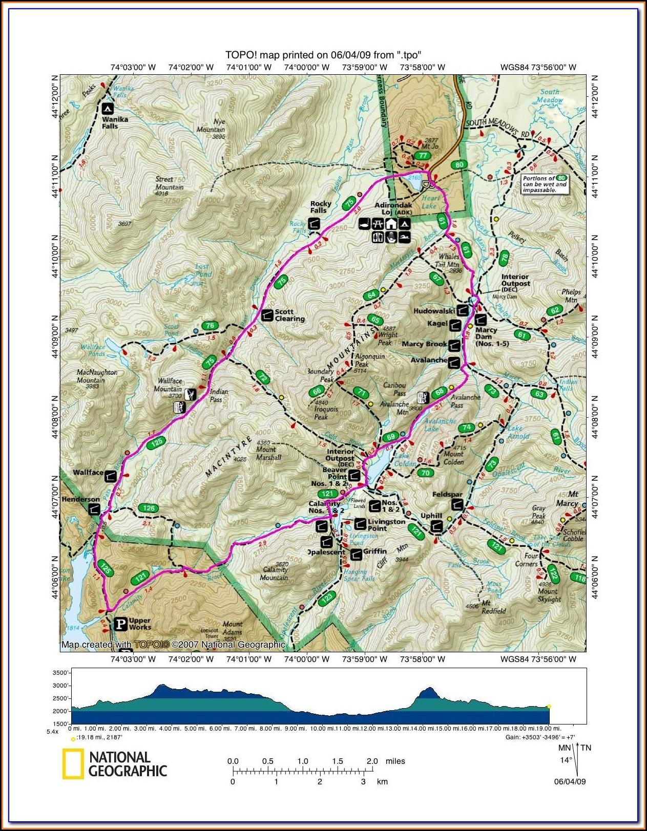 Adirondack Mountain Trail Maps