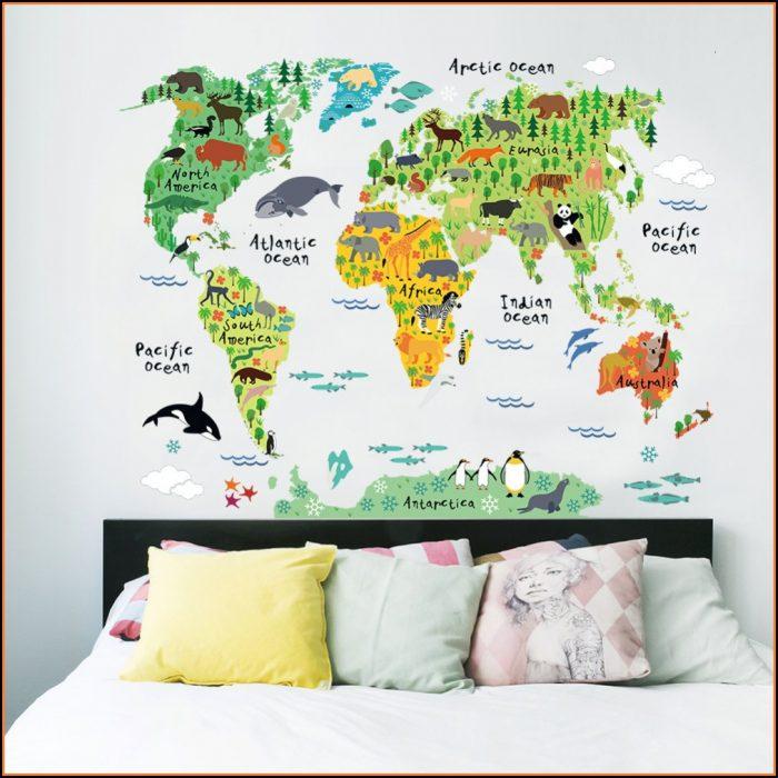 Animal World Map Wall Decal