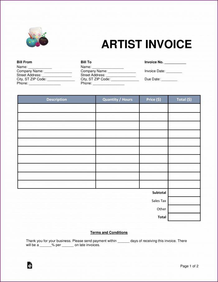Artist Invoice Template Word