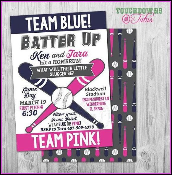 Baseball Gender Reveal Invitation Template