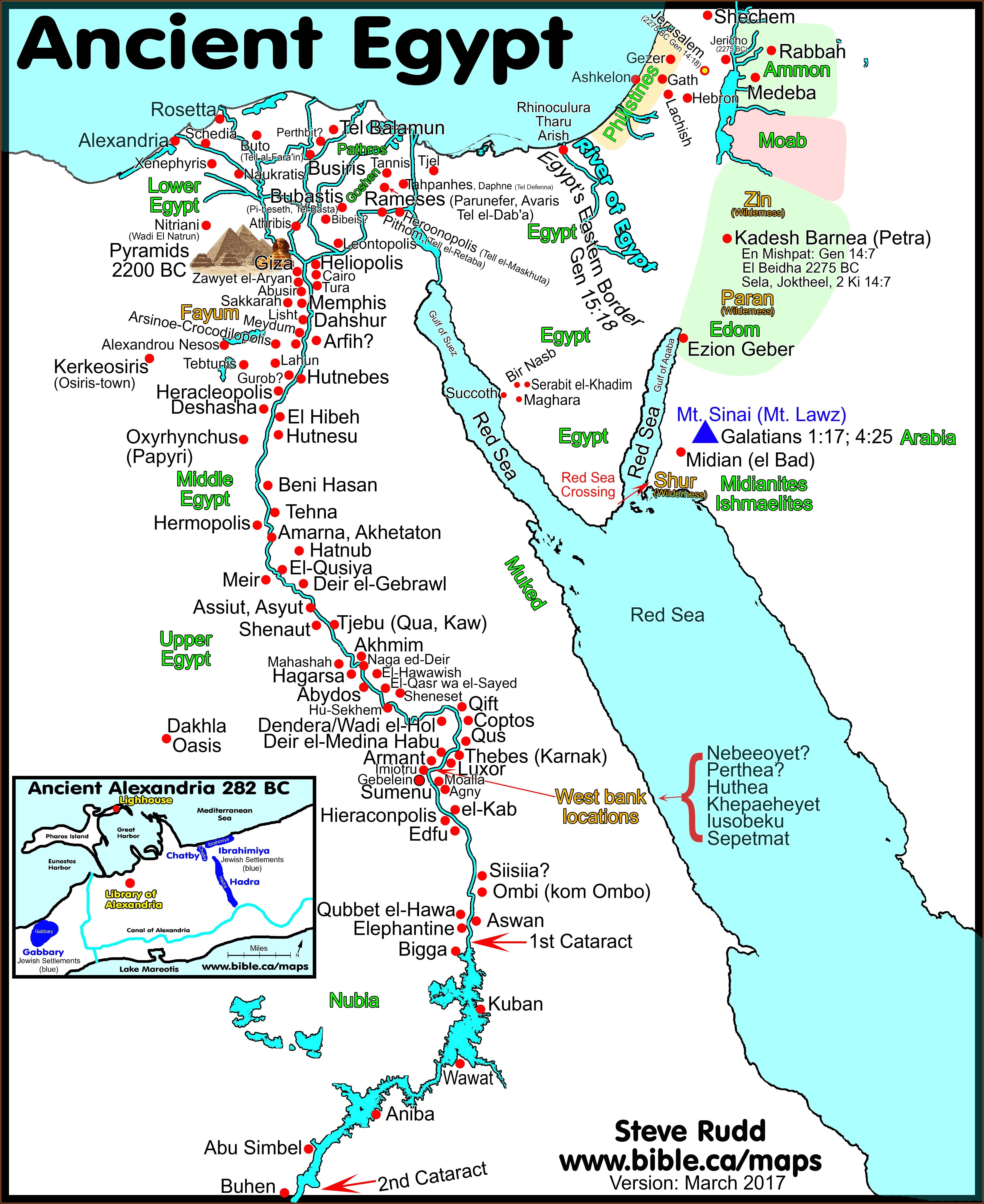 Biblical Map Of Israel And Egypt