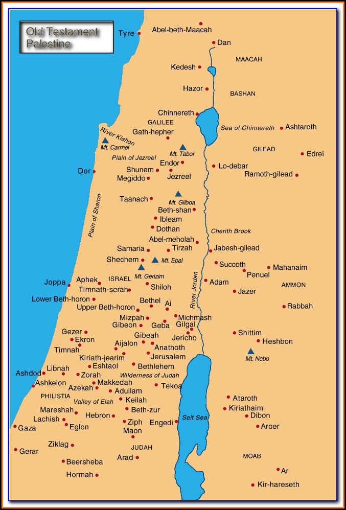 Biblical Map Of Israel And Middle East