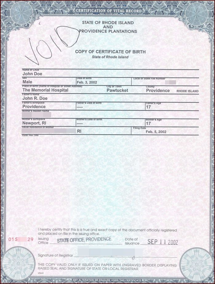 California Birth Certificate Example