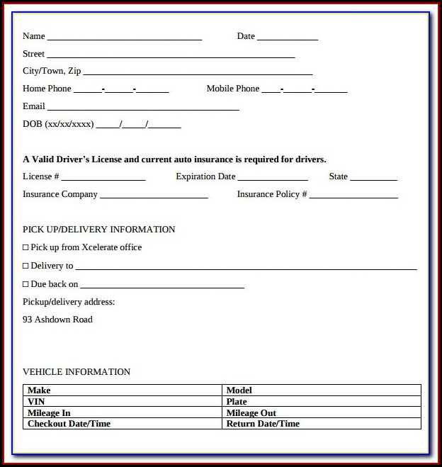 Car Hire Form Template Uk