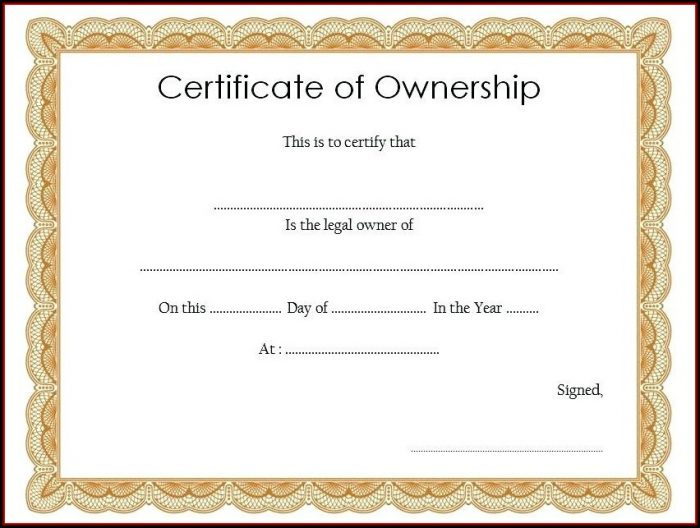 Certificate Of Stock Ownership Template