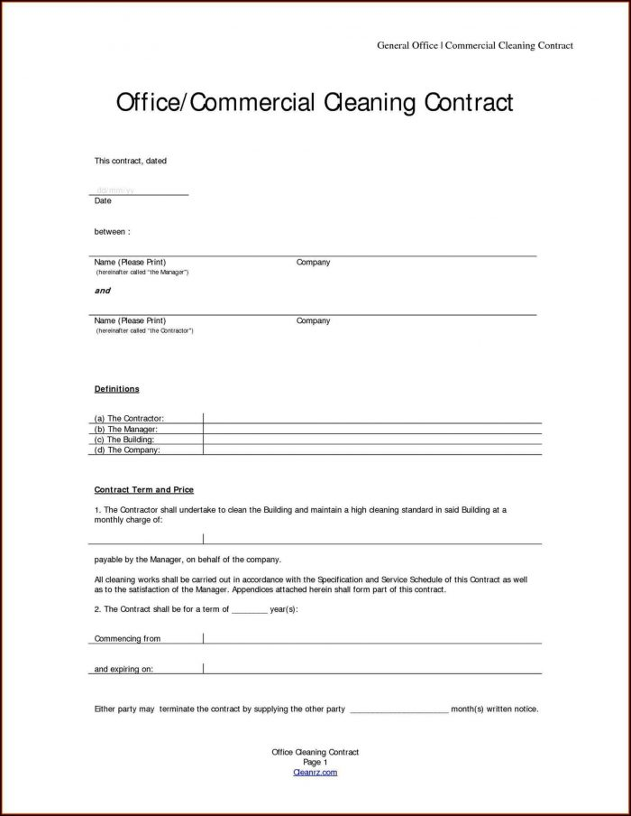 Cleaning Contracts Examples