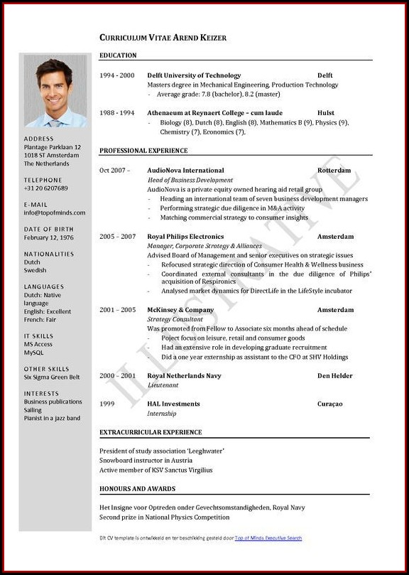 Cv Format Template Free Download
