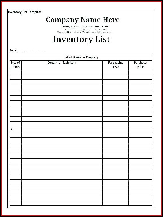 Dental Supply Order List Template